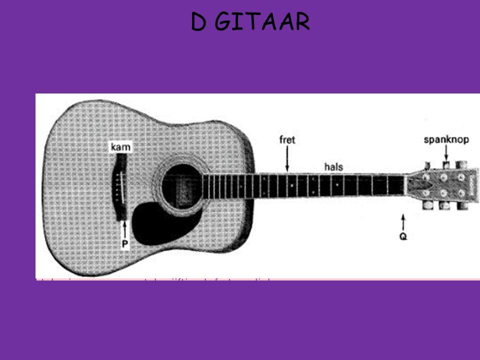 D GITAAR C Nu moet je weer terugrekenen met l = n × ½λ om de lengte van het trillende gedeelte van de snaar te bepalen (nog steeds geldt n=1): l = ½ λ dus l = 0,434 m.