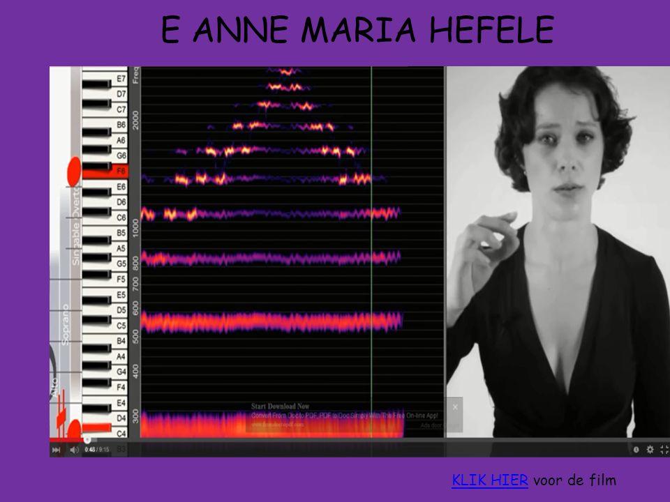 E ANNE MARIA HEFELE A Grondtoon stemband f o 1 e boventoon stemband f 1 2 e boventoon stemband f 2 3 e boventoon stemband f 3 Alle golven hebben dezelfde golfsnelheid, dus Uit deze algemene theorie volgt: frequentiespectrum 1 : 2 : 3 : 4 KLIK HIERKLIK HIER voor de film
