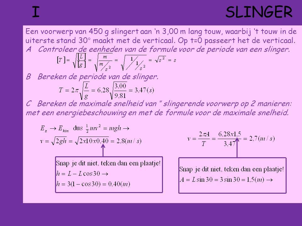 II HORIZONTALE LAT Je brengt op t = 0 s uiteinde A van 'n lange horizontale lat in trilling.