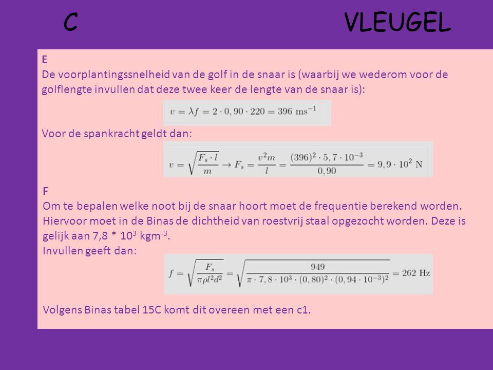 C VLEUGEL E De voorplantingssnelheid van de golf in de snaar is (waarbij we wederom voor de golflengte invullen dat deze twee keer de lengte van de snaar is): Voor de spankracht geldt dan: F Om te bepalen welke noot bij de snaar hoort moet de frequentie berekend worden.