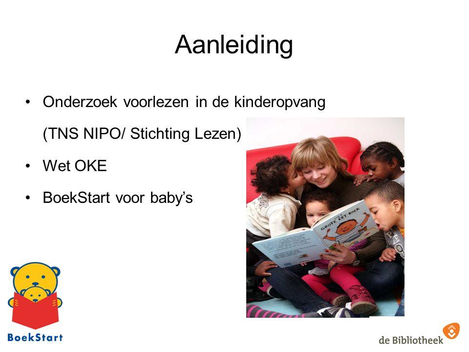Aanleiding Onderzoek voorlezen in de kinderopvang (TNS NIPO/ Stichting Lezen) Wet OKE BoekStart voor baby's