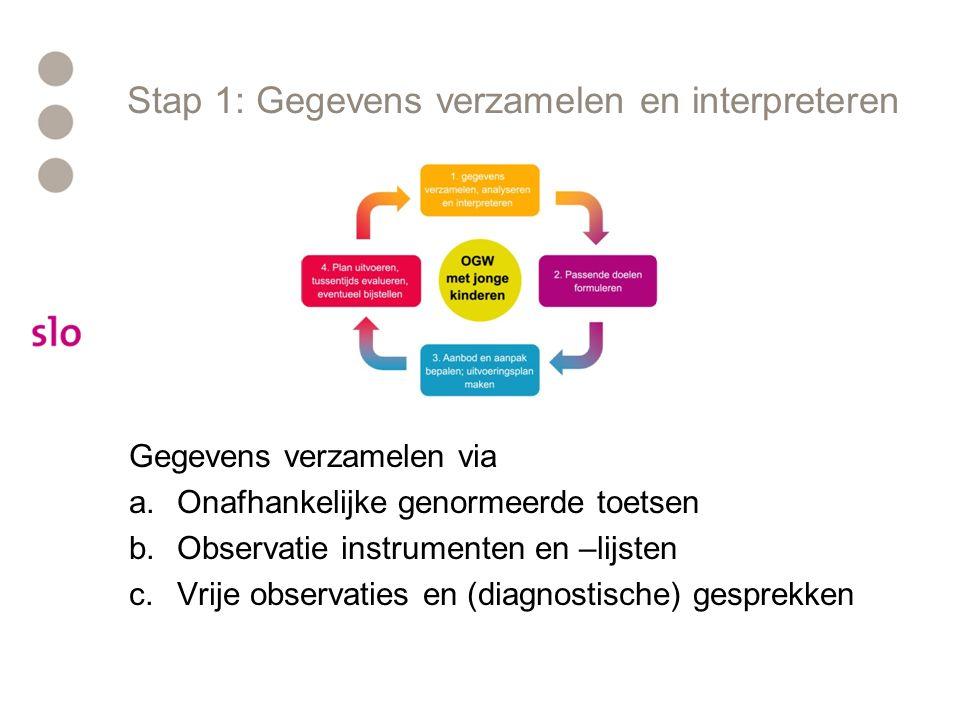 Stap 1: Gegevens verzamelen en interpreteren Gegevens verzamelen via a.Onafhankelijke genormeerde toetsen b.Observatie instrumenten en –lijsten c.Vrije observaties en (diagnostische) gesprekken