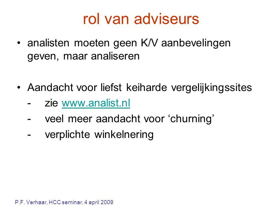 rol van adviseurs analisten moeten geen K/V aanbevelingen geven, maar analiseren Aandacht voor liefst keiharde vergelijkingssites -zie www.analist.nlwww.analist.nl -veel meer aandacht voor 'churning' -verplichte winkelnering P.F.