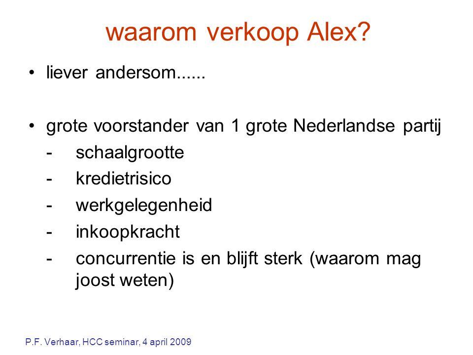 waarom verkoop Alex? liever andersom...... grote voorstander van 1 grote Nederlandse partij -schaalgrootte -kredietrisico -werkgelegenheid -inkoopkrac