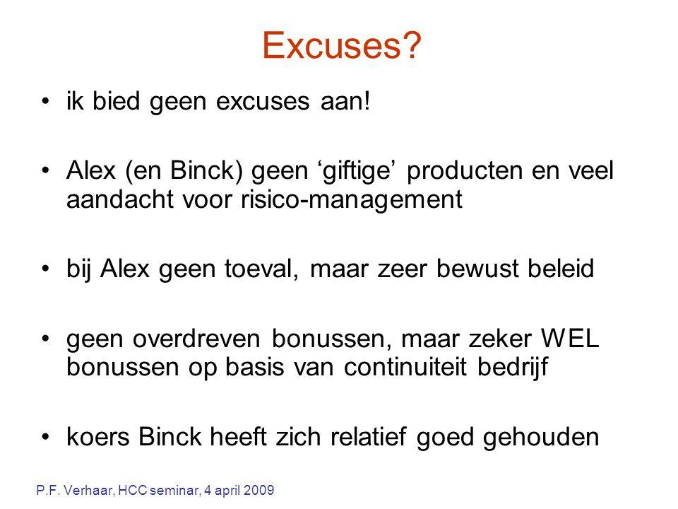 Excuses? ik bied geen excuses aan! Alex (en Binck) geen 'giftige' producten en veel aandacht voor risico-management bij Alex geen toeval, maar zeer be