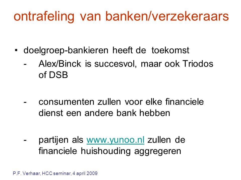ontrafeling van banken/verzekeraars doelgroep-bankieren heeft de toekomst -Alex/Binck is succesvol, maar ook Triodos of DSB -consumenten zullen voor elke financiele dienst een andere bank hebben -partijen als www.yunoo.nl zullen de financiele huishouding aggregerenwww.yunoo.nl P.F.