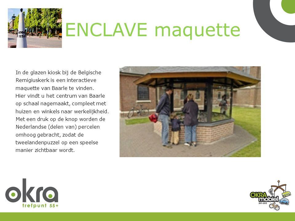 ENCLAVE maquette In de glazen kiosk bij de Belgische Remigiuskerk is een interactieve maquette van Baarle te vinden.