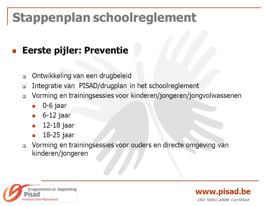 ISO 9001:2008 Certified www.pisad.be Stappenplan schoolreglement Eerste pijler: Preventie  Ontwikkeling van een drugbeleid  Integratie van PISAD/drugplan in het schoolreglement  Vorming en trainingsessies voor kinderen/jongeren/jongvolwassenen 0-6 jaar 6-12 jaar 12-18 jaar 18-25 jaar  Vorming en trainingsessies voor ouders en directe omgeving van kinderen/jongeren