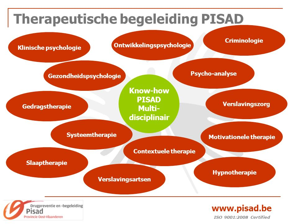 ISO 9001:2008 Certified www.pisad.be Therapeutische begeleiding PISAD Klinische psychologie Ontwikkelingspsychologie Gezondheidspsychologie Gedragstherapie Systeemtherapie Criminologie Contextuele therapie Motivationele therapie Slaaptherapie Verslavingsartsen Verslavingszorg Hypnotherapie Psycho-analyse Know-how PISAD Multi- disciplinair
