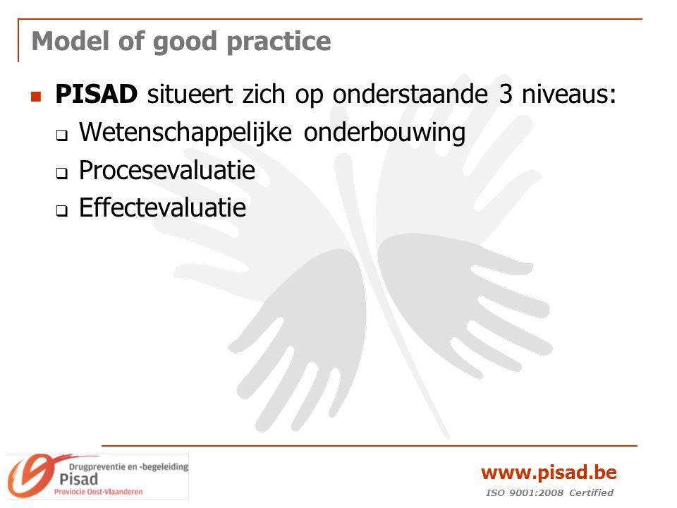 ISO 9001:2008 Certified www.pisad.be Model of good practice PISAD situeert zich op onderstaande 3 niveaus:  Wetenschappelijke onderbouwing  Procesevaluatie  Effectevaluatie