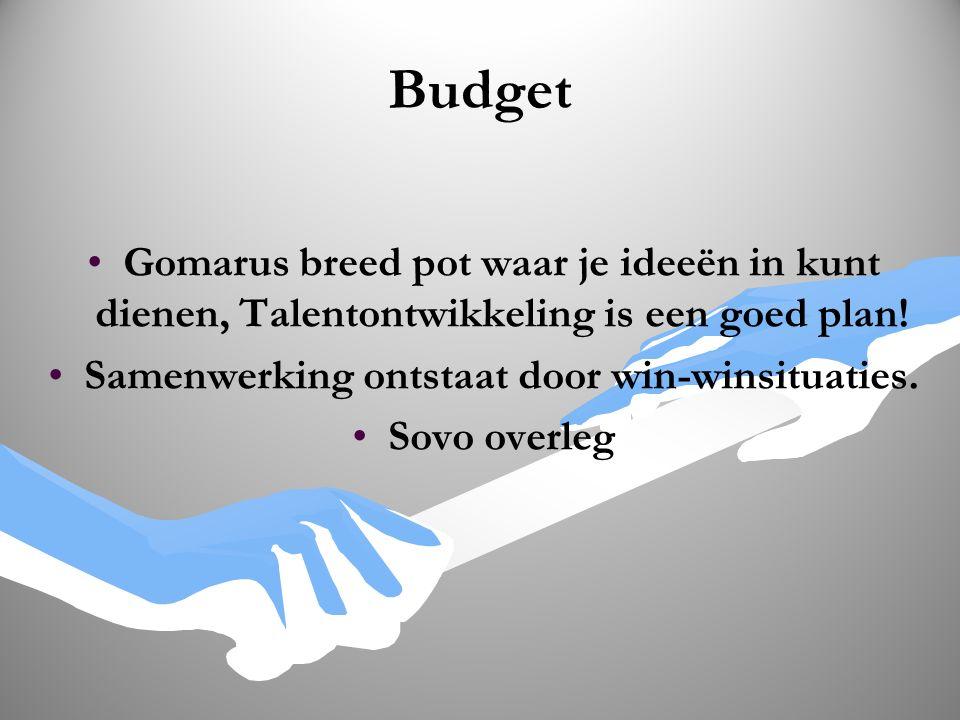 Budget Gomarus breed pot waar je ideeën in kunt dienen, Talentontwikkeling is een goed plan! Samenwerking ontstaat door win-winsituaties. Sovo overleg