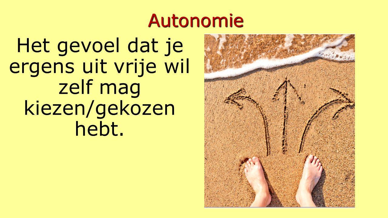 Autonomie Het gevoel dat je ergens uit vrije wil zelf mag kiezen/gekozen hebt.