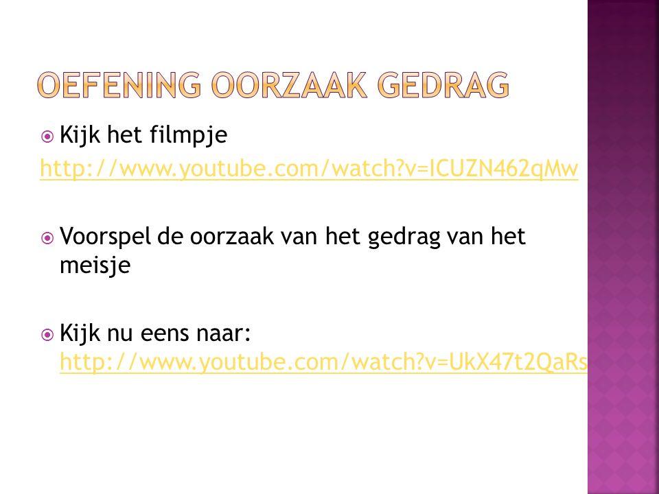  Kijk het filmpje http://www.youtube.com/watch?v=ICUZN462qMw  Voorspel de oorzaak van het gedrag van het meisje  Kijk nu eens naar: http://www.yout