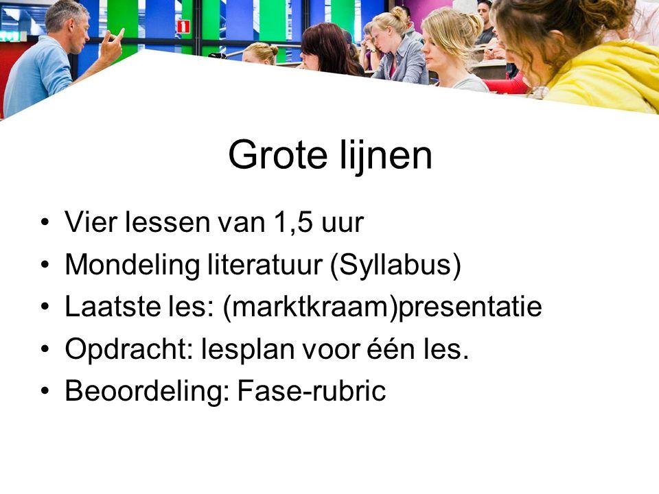Grote lijnen Vier lessen van 1,5 uur Mondeling literatuur (Syllabus) Laatste les: (marktkraam)presentatie Opdracht: lesplan voor één les.