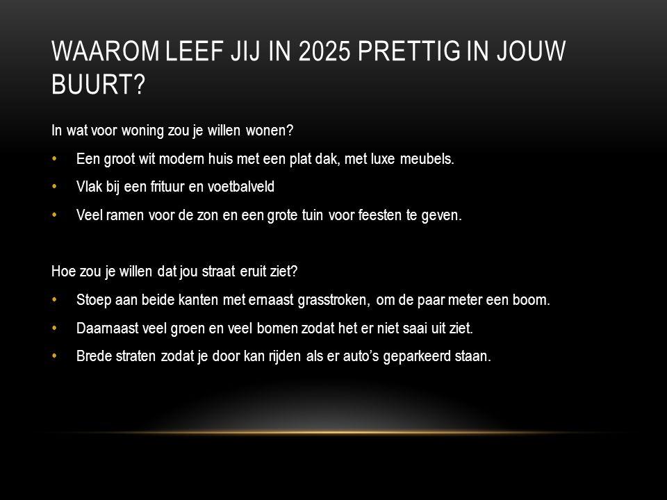 WAAROM LEEF JIJ IN 2025 PRETTIG IN JOUW BUURT. In wat voor woning zou je willen wonen.