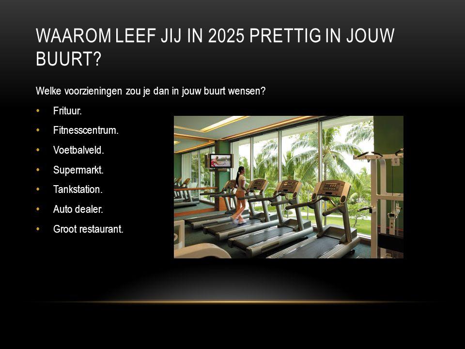 WAAROM LEEF JIJ IN 2025 PRETTIG IN JOUW BUURT. Welke voorzieningen zou je dan in jouw buurt wensen.