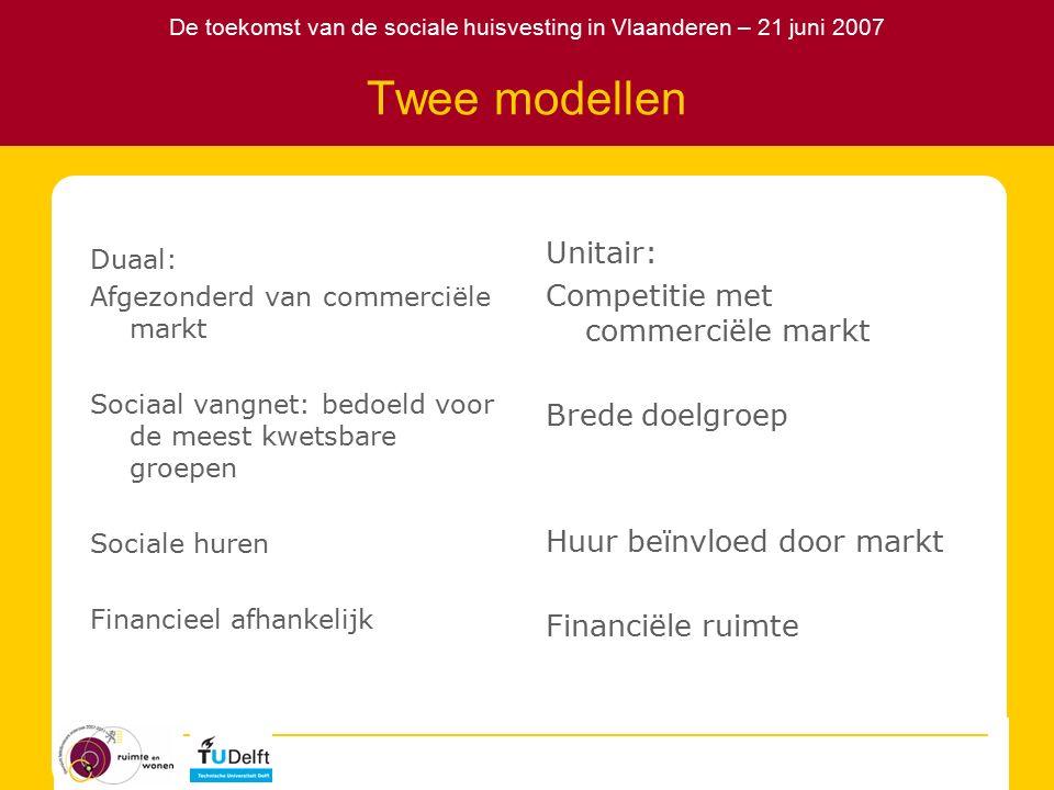 De toekomst van de sociale huisvesting in Vlaanderen – 21 juni 2007 Twee modellen Duaal: Afgezonderd van commerciële markt Sociaal vangnet: bedoeld voor de meest kwetsbare groepen Sociale huren Financieel afhankelijk Unitair: Competitie met commerciële markt Brede doelgroep Huur beïnvloed door markt Financiële ruimte