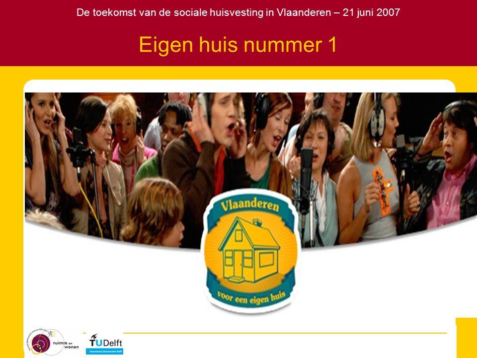 De toekomst van de sociale huisvesting in Vlaanderen – 21 juni 2007 Voor- en nadelen van de twee extremen DuaalUnitair VoordelenEfficiënte zorg voor de kwetsbaren Minder risico stigmatisering en segregatie Kan financieel zelfstandig functioneren NadelenRisico stigmatisering en segregatie Kostbaar in de opbouwfase