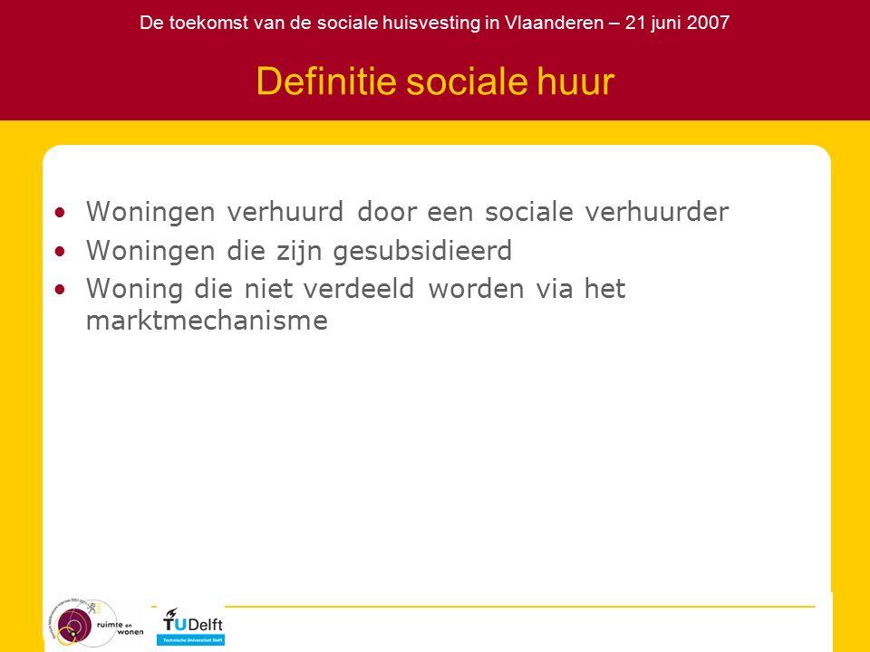 De toekomst van de sociale huisvesting in Vlaanderen – 21 juni 2007 Beeld sociale huur