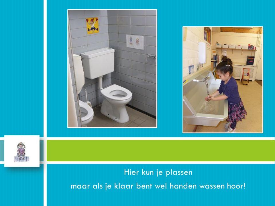 Hier kun je plassen maar als je klaar bent wel handen wassen hoor!.