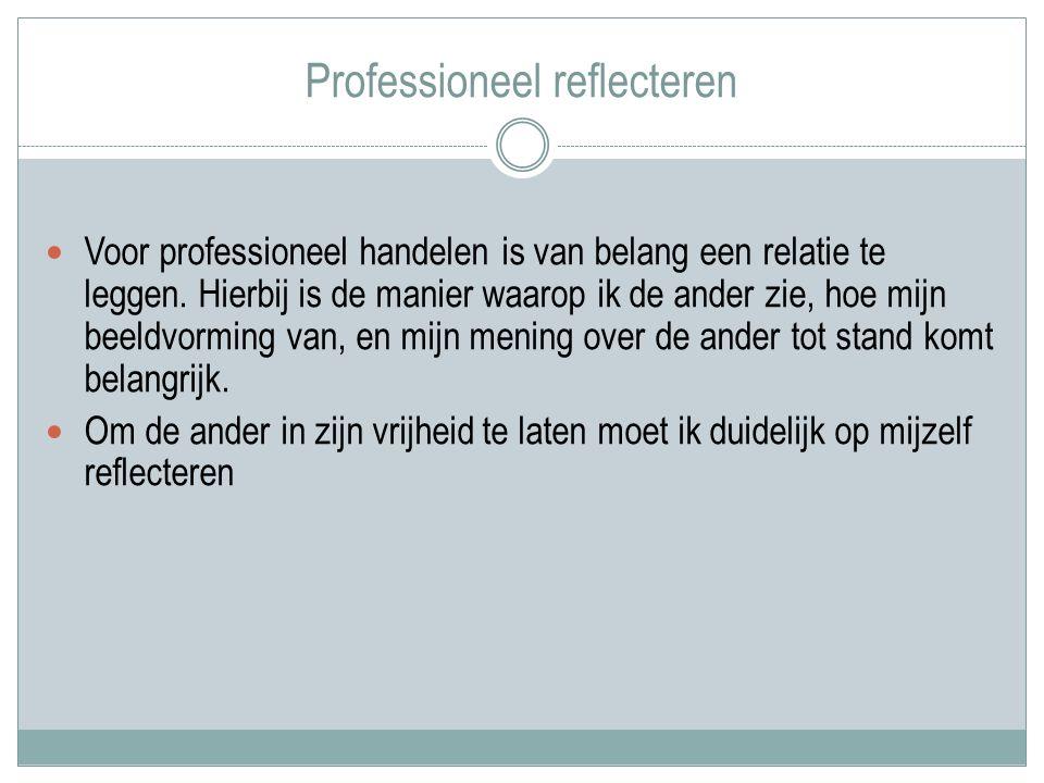 Professioneel reflecteren Voor professioneel handelen is van belang een relatie te leggen.