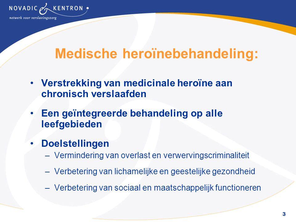 3 Medische heroïnebehandeling: Verstrekking van medicinale heroïne aan chronisch verslaafden Een geïntegreerde behandeling op alle leefgebieden Doelstellingen –Vermindering van overlast en verwervingscriminaliteit –Verbetering van lichamelijke en geestelijke gezondheid –Verbetering van sociaal en maatschappelijk functioneren