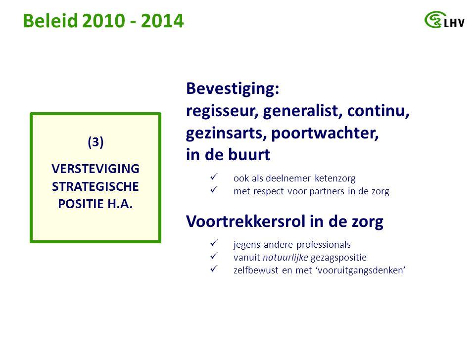 Beleid 2010 - 2014 VERSTEVIGING STRATEGISCHE POSITIE H.A.