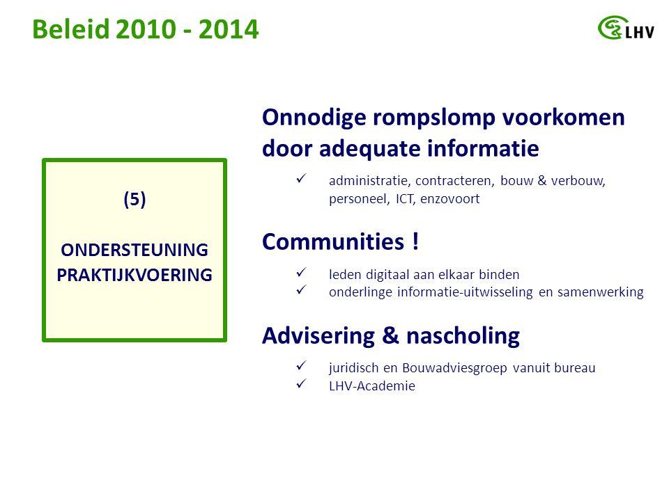 Beleid 2010 - 2014 ONDERSTEUNING PRAKTIJKVOERING (5) Onnodige rompslomp voorkomen door adequate informatie administratie, contracteren, bouw & verbouw, personeel, ICT, enzovoort Communities .
