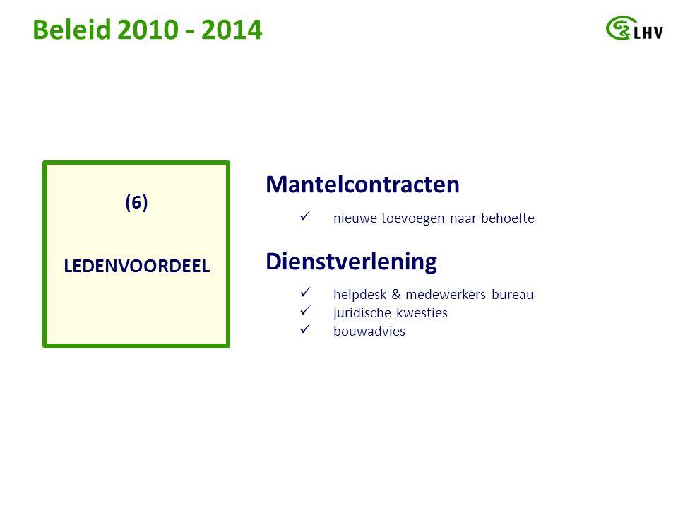 Beleid 2010 - 2014 LEDENVOORDEEL (6) Mantelcontracten nieuwe toevoegen naar behoefte Dienstverlening helpdesk & medewerkers bureau juridische kwesties bouwadvies