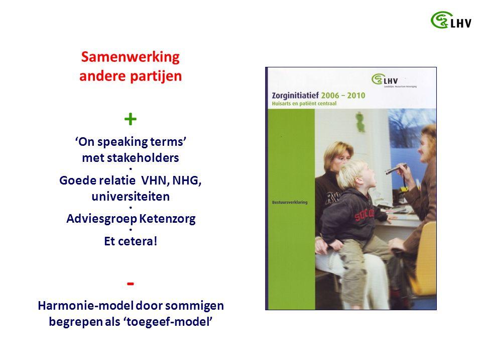 Samenwerking andere partijen + 'On speaking terms' met stakeholders ● Goede relatie VHN, NHG, universiteiten ● Adviesgroep Ketenzorg ● Et cetera.