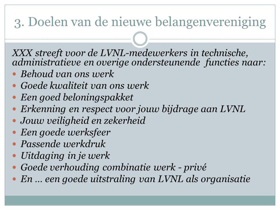3. Doelen van de nieuwe belangenvereniging XXX streeft voor de LVNL-medewerkers in technische, administratieve en overige ondersteunende functies naar