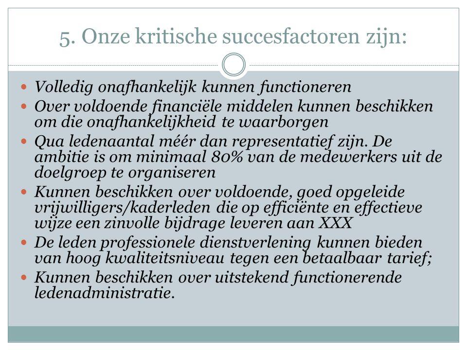 5. Onze kritische succesfactoren zijn: Volledig onafhankelijk kunnen functioneren Over voldoende financiële middelen kunnen beschikken om die onafhank