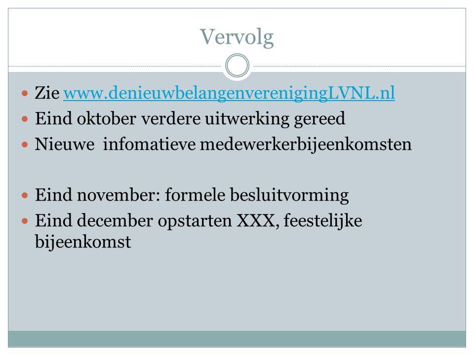Vervolg Zie www.denieuwbelangenverenigingLVNL.nlwww.denieuwbelangenverenigingLVNL.nl Eind oktober verdere uitwerking gereed Nieuwe infomatieve medewer