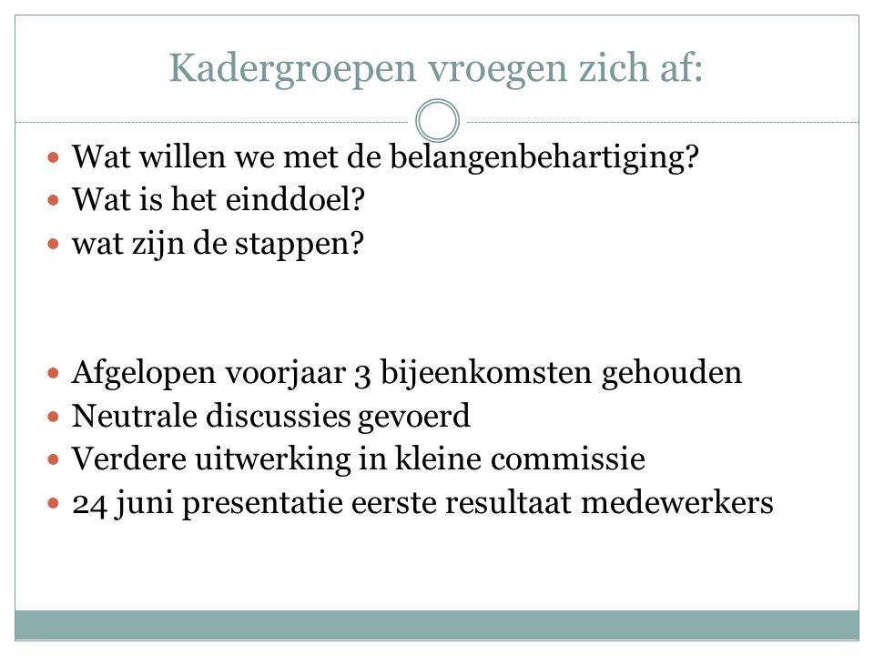 Kadergroepen vroegen zich af: Wat willen we met de belangenbehartiging? Wat is het einddoel? wat zijn de stappen? Afgelopen voorjaar 3 bijeenkomsten g