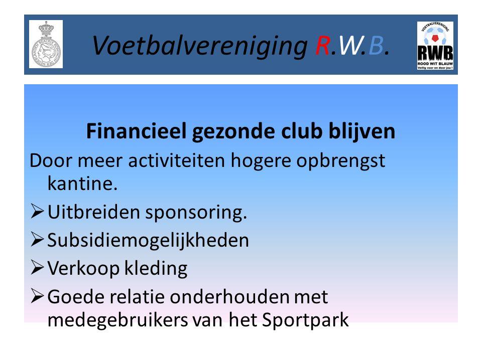 Financieel gezonde club blijven Door meer activiteiten hogere opbrengst kantine.