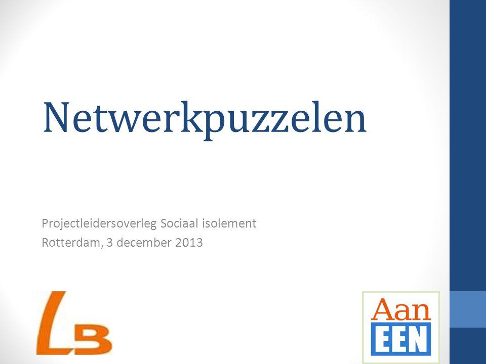 Netwerkpuzzelen Projectleidersoverleg Sociaal isolement Rotterdam, 3 december 2013