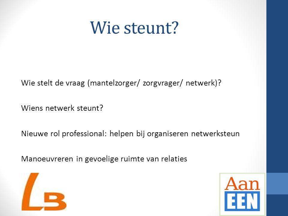 Wie steunt? Wie stelt de vraag (mantelzorger/ zorgvrager/ netwerk)? Wiens netwerk steunt? Nieuwe rol professional: helpen bij organiseren netwerksteun