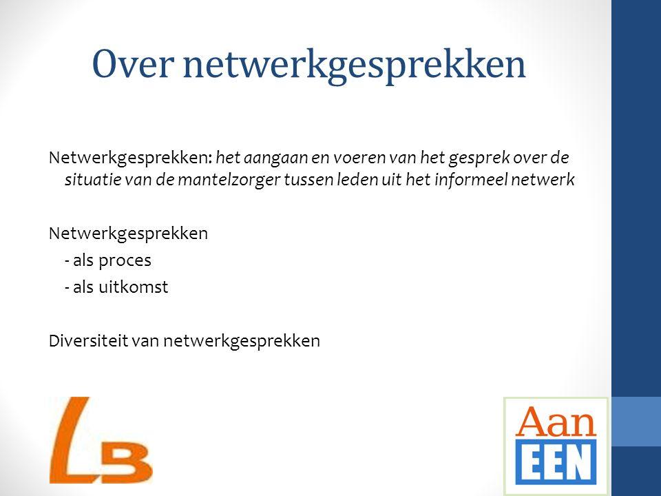 Over netwerkgesprekken Netwerkgesprekken: het aangaan en voeren van het gesprek over de situatie van de mantelzorger tussen leden uit het informeel ne