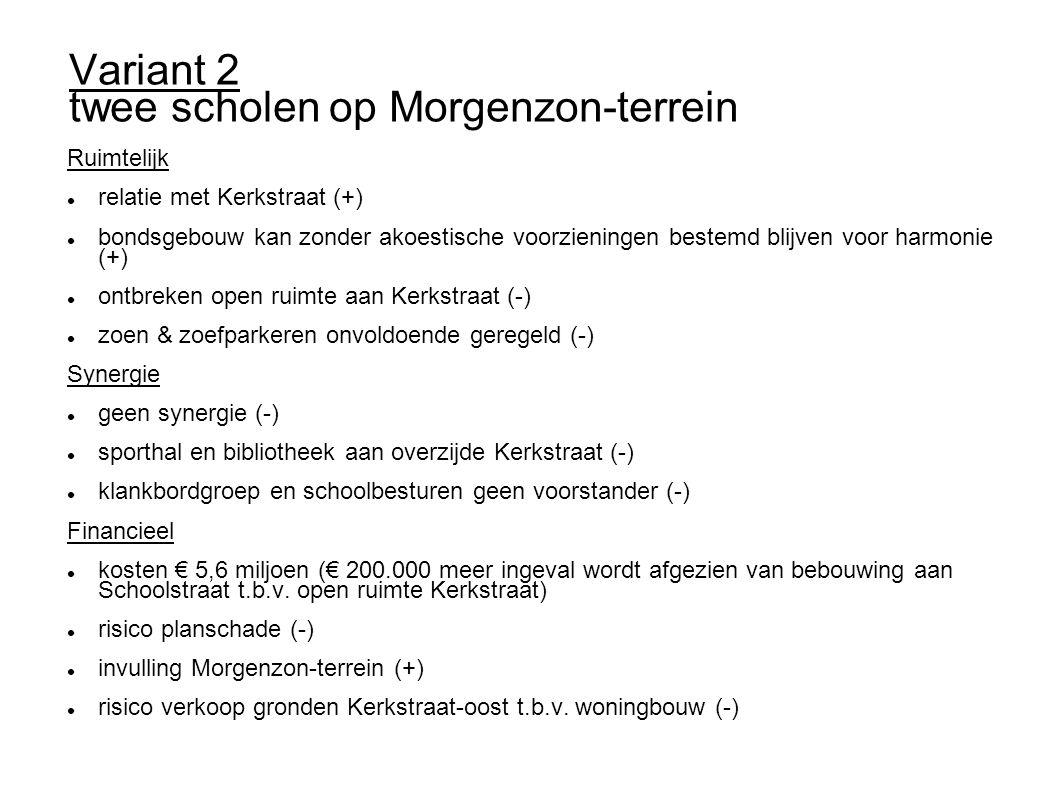 Variant 2 twee scholen op Morgenzon-terrein Ruimtelijk relatie met Kerkstraat (+) bondsgebouw kan zonder akoestische voorzieningen bestemd blijven vo