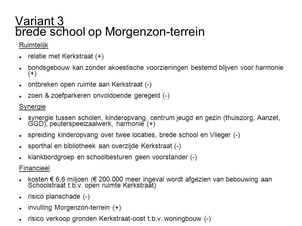 Variant 3 brede school op Morgenzon-terrein Ruimtelijk relatie met Kerkstraat (+) bondsgebouw kan zonder akoestische voorzieningen bestemd blijven vo