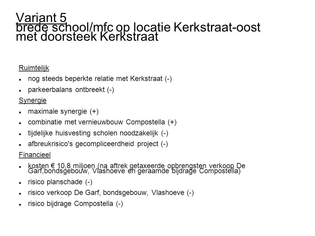Variant 5 brede school/mfc op locatie Kerkstraat-oost met doorsteek Kerkstraat Ruimtelijk nog steeds beperkte relatie met Kerkstraat (-) parkeerbalan
