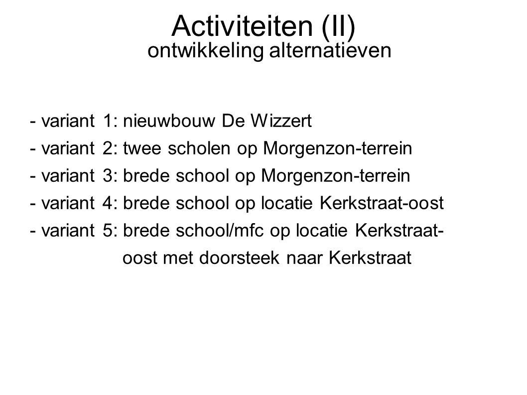 Activiteiten (II) ontwikkeling alternatieven - variant 1: nieuwbouw De Wizzert - variant 2: twee scholen op Morgenzon-terrein - variant 3: brede schoo
