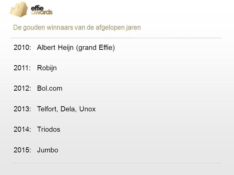 2010: Albert Heijn (grand Effie) 2011:Robijn 2012:Bol.com 2013:Telfort, Dela, Unox 2014:Triodos 2015:Jumbo De gouden winnaars van de afgelopen jaren