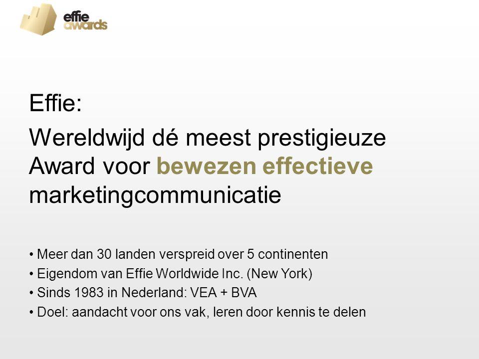 Effie: Wereldwijd dé meest prestigieuze Award voor bewezen effectieve marketingcommunicatie Meer dan 30 landen verspreid over 5 continenten Eigendom van Effie Worldwide Inc.