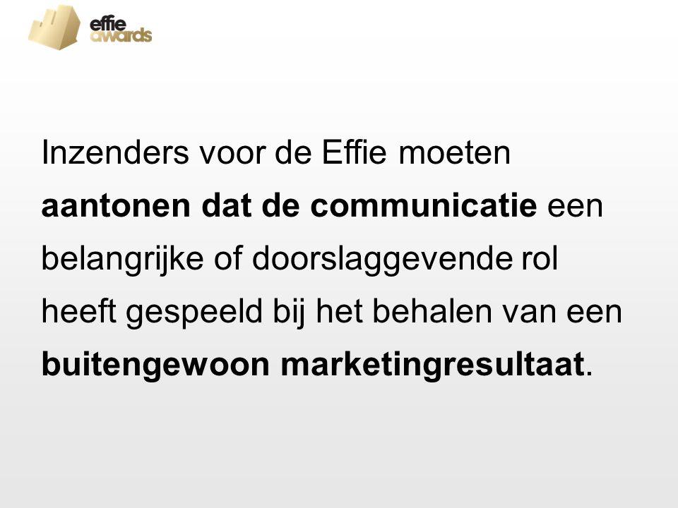 Inzenders voor de Effie moeten aantonen dat de communicatie een belangrijke of doorslaggevende rol heeft gespeeld bij het behalen van een buitengewoon