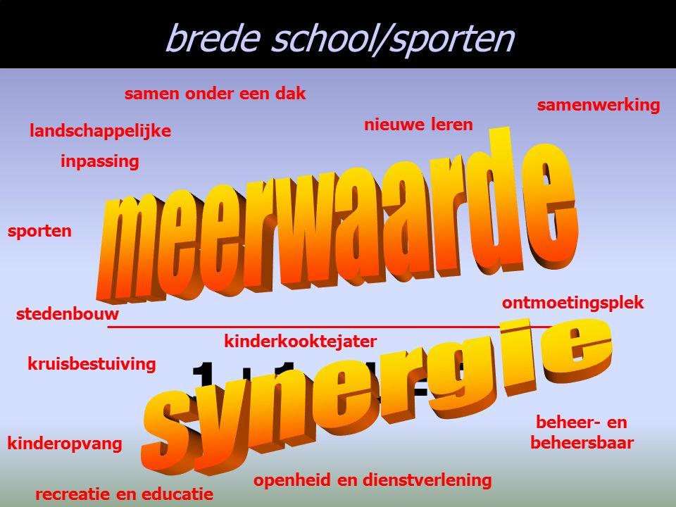 brede school/sporten 1+1+1=5! landschappelijke inpassing recreatie en educatie openheid en dienstverlening stedenbouw samenwerking beheer- en beheersb