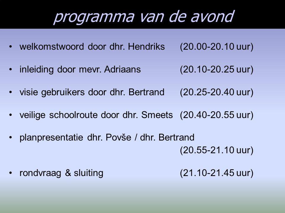 programma van de avond welkomstwoord door dhr. Hendriks(20.00-20.10 uur) inleiding door mevr. Adriaans (20.10-20.25 uur) visie gebruikers door dhr. Be