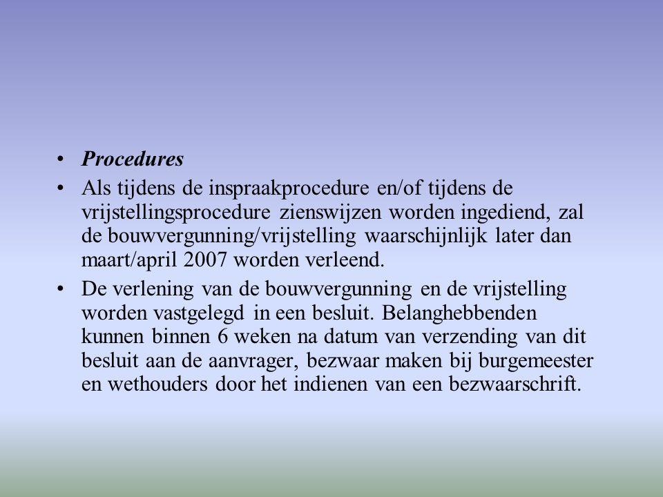 Procedures Als tijdens de inspraakprocedure en/of tijdens de vrijstellingsprocedure zienswijzen worden ingediend, zal de bouwvergunning/vrijstelling w