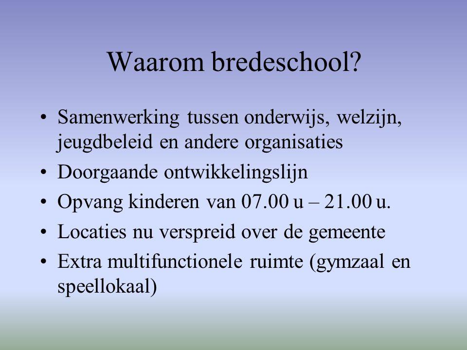 Waarom bredeschool? Samenwerking tussen onderwijs, welzijn, jeugdbeleid en andere organisaties Doorgaande ontwikkelingslijn Opvang kinderen van 07.00