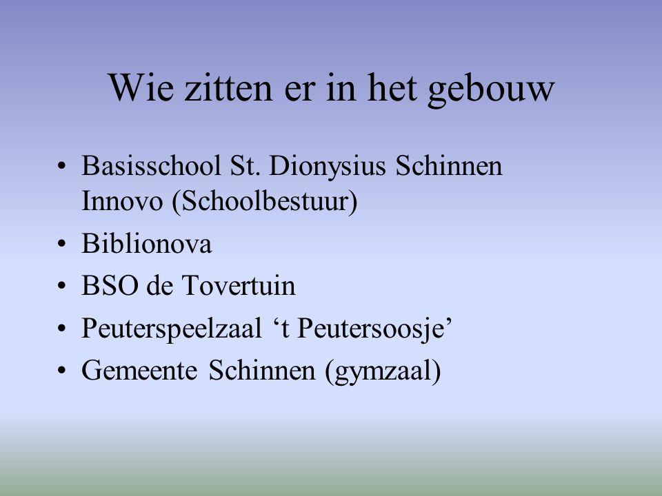 Wie zitten er in het gebouw Basisschool St. Dionysius Schinnen Innovo (Schoolbestuur) Biblionova BSO de Tovertuin Peuterspeelzaal 't Peutersoosje' Gem